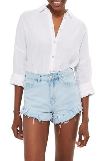 Women's Topshop Kiri Ruffle Hem Denim Shorts