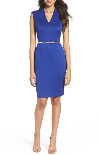 Ellen Tracy Belted Scuba Sheath Dress, Blue