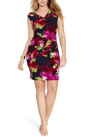 Plus Size Lauren Ralph Lauren Cowl Neck Jersey Dress, Blue