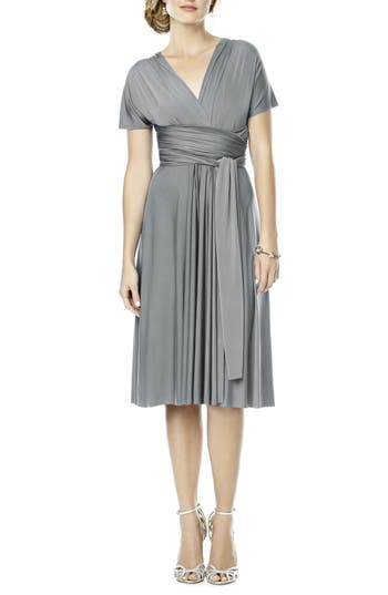 Plus Size Dessy Collection Convertible Wrap Tie Surplice Jersey Dress, Grey