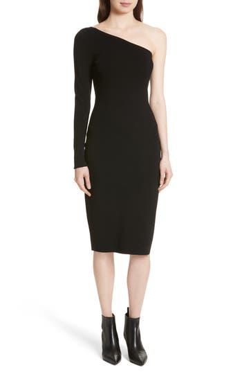 Diane Von Furstenberg Knit One-Shoulder Midi Dress, Size Petite - Black