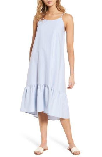Lush Ruffle Hem Midi Dress, Blue