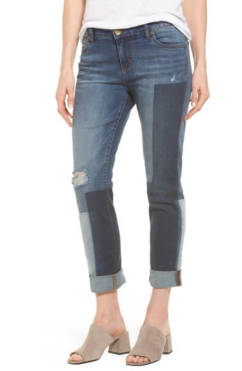 Kut From The Kloth Catherine Colorblock Slim Boyfriend Jeans, Blue
