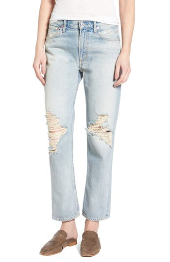 Agolde Ripped High Waist Straight Leg Jeans, Blue