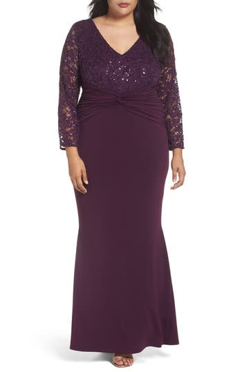 Plus Size Marina Sequin Lace & Jersey Mermaid Gown, Purple