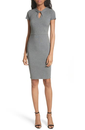 Milly Twist Neck Stretch Knit Sheath Dress, Grey