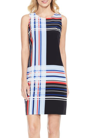 Vince Camuto Linear Graphic Shift Dress, Black