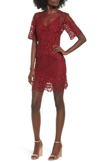 Keepsake The Label Reach Out Lace Body-Con Dress, Red