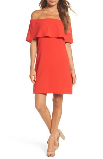 Charles Henry Off The Shoulder Dress, Red