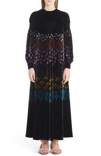Valentino Floral Stem Velvet Jacquard Gown, Black