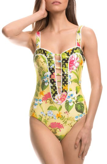 Isabella Rose Sweet Surrender Floral Print One-Piece Swimsuit, Yellow