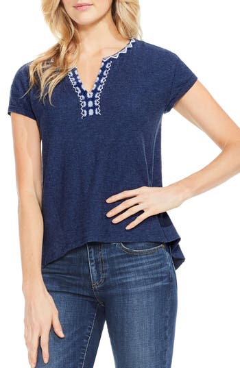Two By Vince Camuto Embroidered Split Neck Tee, Blue