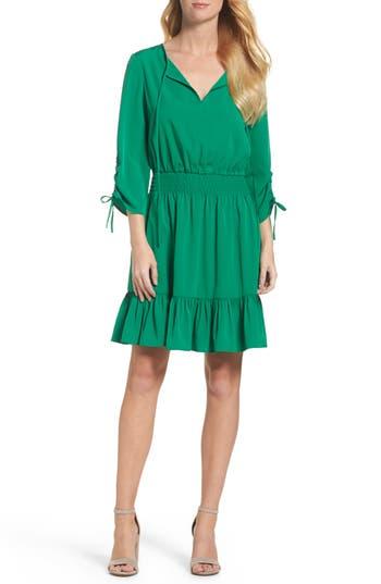 Eliza J Woven Blouson Dress, Green