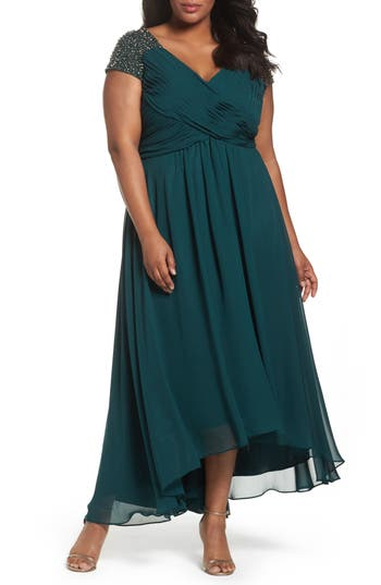 Plus Size Eliza J Embellished Pleated Chiffon Gown, Green