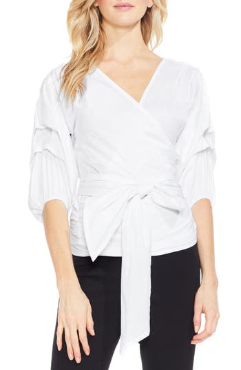 Women's Vince Camuto Bubble Sleeve Wrap Blouse, Size X-Small - White