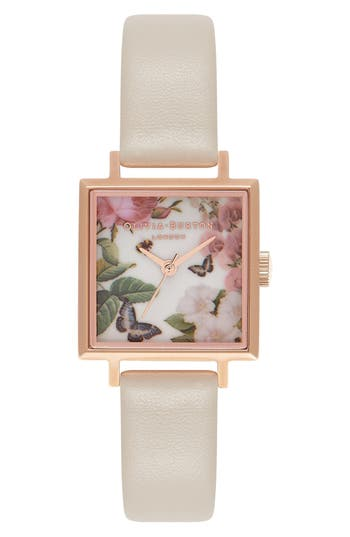 Women's Olivia Burton Enchanted Garden Midi Square Faux Leather Strap Watch, 23Mm