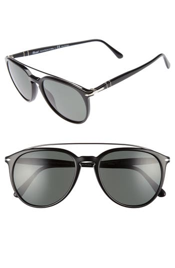 Men's Persol Sartoria 55Mm Polarized Sunglasses - Black/ Green