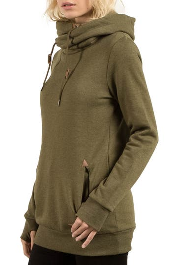 Volcom Walk On By Funnel Neck Hoodie, Green