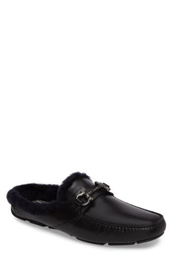 Men's Salvatore Ferragamo Duca Bit Driving Loafer With Genuine Shearling
