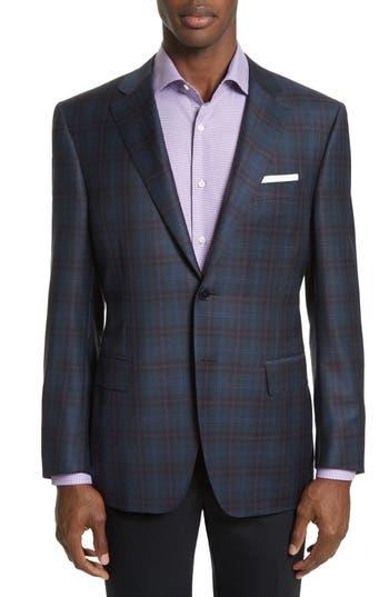 Big & Tall Canali Kei Classic Fit Plaid Wool Sport Coat, 0 L EU - Blue
