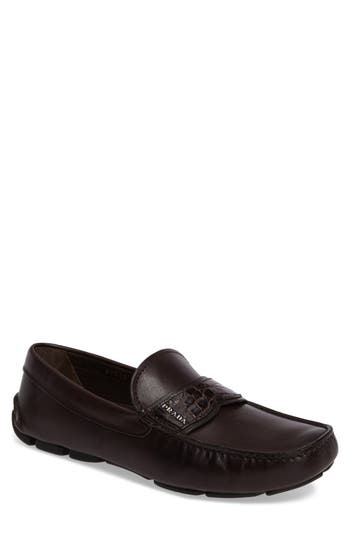 Men's Prada Genuine Crocodile Detail Driving Shoe