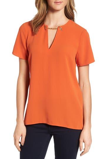 Women's Michael Michael Kors High/low Chain Top, Size X-Small - Orange