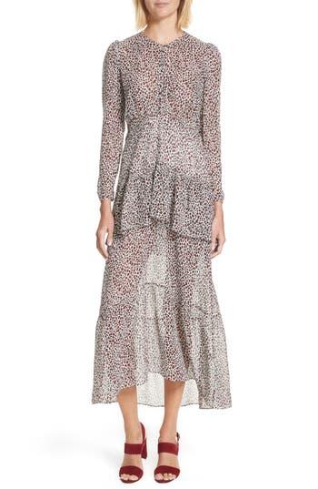 A.l.c. Zandra Leopard Print Silk Midi Dress, Ivory