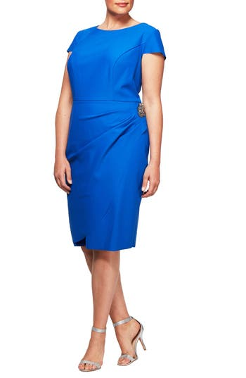 Plus Size Alex Evenings Embellished Cap Sleeve Sheath Dress, Blue