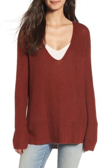 Women's Hinge Button Back V-Neck Sweater