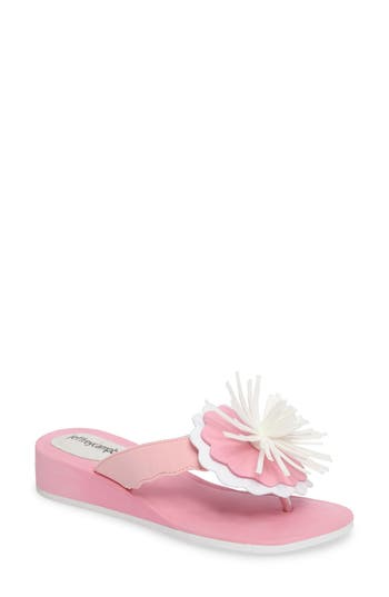 Jeffrey Campbell Itopia Fringed Wedge Flip Flop, Pink