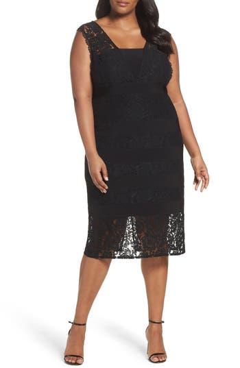 Plus Size Adrianna Papell Cynthia Lace Sheath Dress, Black