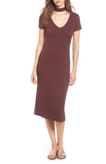 One Clothing Ribbed Choker Midi Dress, Burgundy
