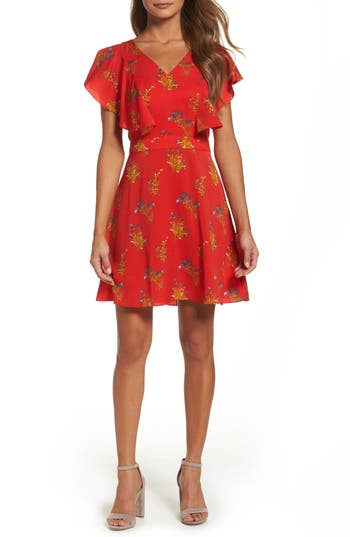 Chelsea28 Ruffle Fit & Flare Dress, Red