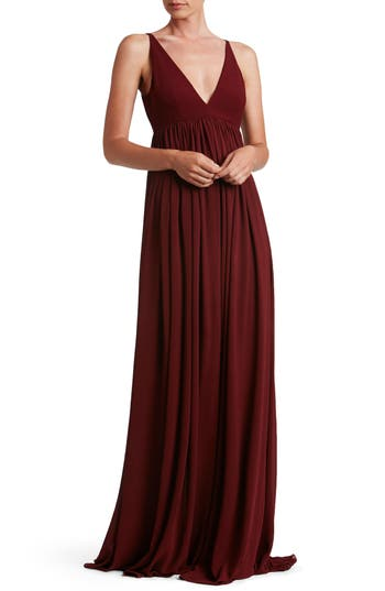 Dress The Population Phoebe Chiffon Gown, Red
