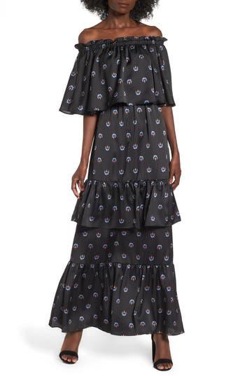Afrm Cleo Off The Shoulder Maxi Dress, Black