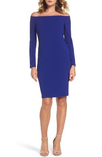 Eliza J Off The Shoulder Scuba Sheath Dress, Blue