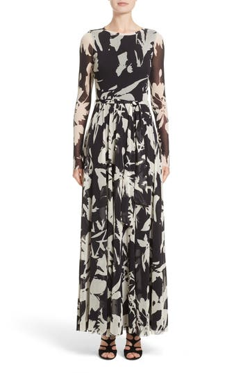 Fuzzi Bicolor Floral Print Tulle Maxi Dress, Black