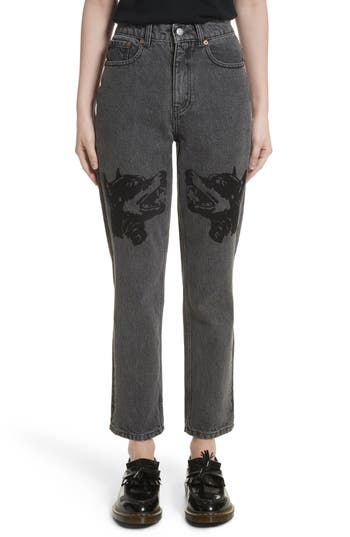 Women's Ashley Williams Dog Embroidered Jeans, Size X-Small - Grey