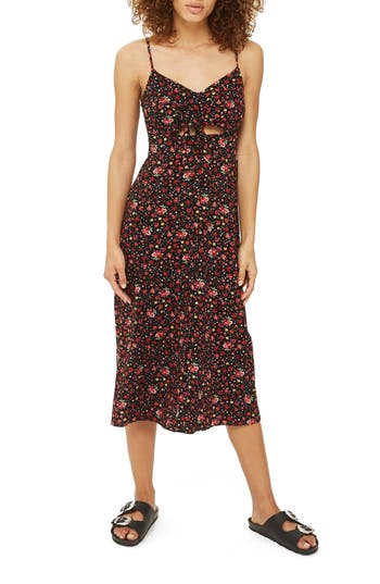 Topshop Molly Floral Knot Tie Dress, US (fits like 0) - Black