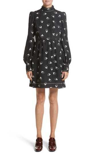 Marc Jacobs Geo Print Satin Back Crepe Dress, Black