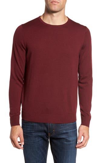 Big & Tall Nordstrom Shop Crewneck Merino Wool Sweater, Burgundy