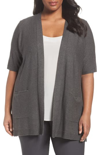 Plus Size Eileen Fisher Simple Tencel & Merino Wool Cardigan, Brown