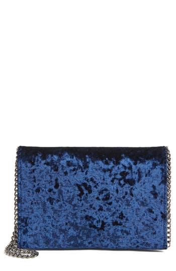 Chelsea28 Velvet & Chain Clutch - Blue