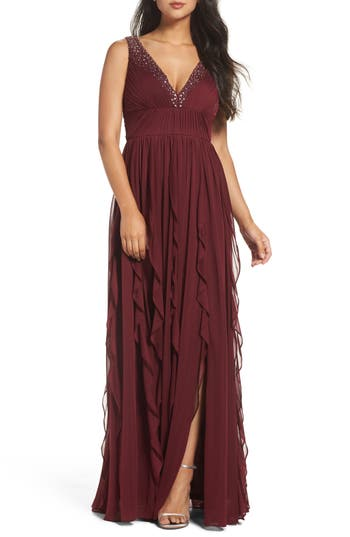 Adrianna Papell Beaded Gown, Red