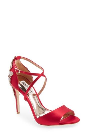 Badgley Mischka Karmen Crystal Back Sandal, Red