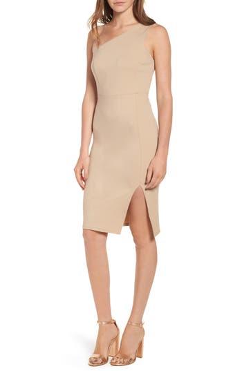 Soprano One-Shoulder Body-Con Dress, Beige