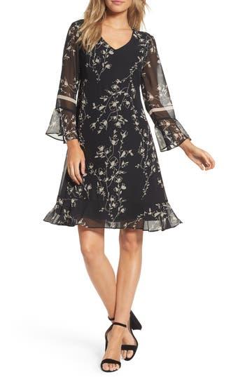 Taylor Dresses Floral Chiffon Shift Dress