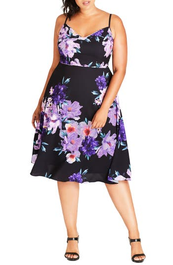 Plus Size City Chic Summer Fling Floral Print Midi Dress, Pink