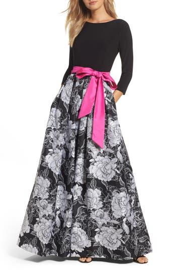 Eliza J Belted Floral Skirt Ballgown, Black