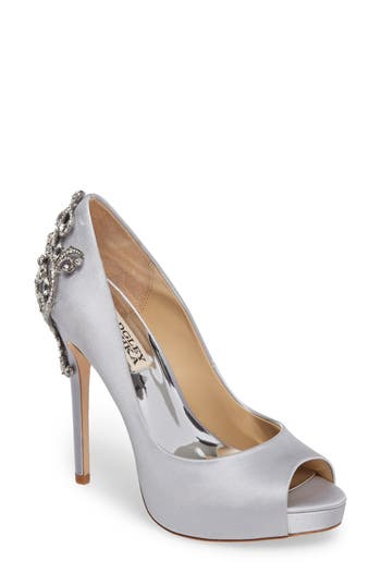 Badgley Mischka Karolina Embellished Peep Toe Pump, Metallic